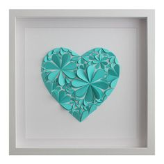 Blossom Heart, Turquoise - Unique 3D paper artwork created from hand-cut hearts, folded and arranged into a blossom filled heart.