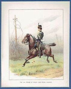 """Antique Colored Lithograph """"The 10th (Prince of Wales' Own Royal) Hussars"""