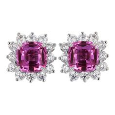 1stdibs - 2.24ctw Pink Sapphire & Diamond Cluster Earrings explore items from 1,700  global dealers at 1stdibs.com
