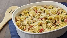 Turn store-bought pesto, pasta sauce and grilled chicken breast strips into a comforting casserole.
