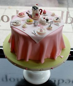 The cutest cake ever at a tea party or a bridal shower for a whimsical bride// MY THEME !!