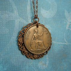 coin necklace, British with figure of  Britannia by Adornments NYC