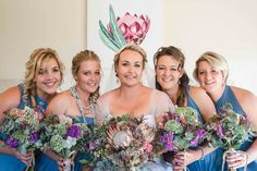 Bridesmaids in blue and the most beautiful bouquet Bridesmaids, Most Beautiful, Wedding Day, Bouquet, Crown, Blue, Photography, Fashion, Pi Day Wedding