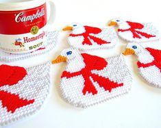 Plastic Canvas Christmas Goose Coasters, Plastic Canvas Coasters, Mug Mats, Mug Rugs, Christmas Coasters, Goose Coasters, Drink Coaster Set