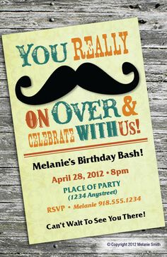 Mustache Party Invitation by msmith423 on Etsy, $15.00 Cute for boy baby shower/sip and see