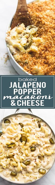 Baked Jalapeño Popper Macaroni & Cheese with pepperjack and cream cheese sauce and buttery breadcrumb topping. | http://lecremedelacrumb.com