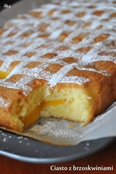 In my coffee kitchen: Cake with peaches Lemon Cheesecake Recipes, Pumpkin Cheesecake, Pie Recipes, Sweet Recipes, Baking Recipes, Dessert Recipes, Polish Desserts, Sweets Cake, Almond Cakes