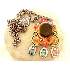 Matryoshka soutache necklace , nectarine and poopy red necklace -... ($105) ❤ liked on Polyvore