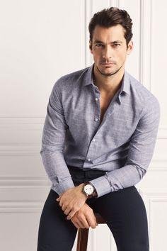 David Gandy l Smart Casual David Gandy, Gq Style, Stylish Men, Men Casual, Smart Casual, Business Dress, Gorgeous Men, Beautiful, Camisa Formal