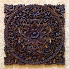 Detailed wood carving Wood Carving Designs, Wood Carving Art, Carved Wood Wall Art, Wood Art, Tapestry Headboard, Decorative Brackets, Main Door Design, Wooden Plates, Pottery Sculpture