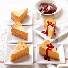 Bring your favorite fall flavors together by combining pumpkin and pomegranate in this dessert: http://www.bhg.com/thanksgiving/recipes/pumpkin-recipes/?socsrc=bhgpin101214pumpkinpomegranatecheesecake&page=8
