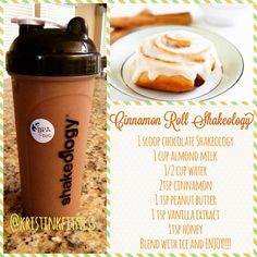 Cinnamon Roll Shakeology- so delicious and 21 Day Fix approved. Counts as 1 red, 1 yellow, 1 tsp. Cinnamon Roll Shakeology- so delicious and 21 Day Fix approved. Counts as 1 red, 1 yellow, 1 tsp. Shakeology Chocolat, Chocolate Shakeology, Chocolate Protein Shakes, Shakeology Shakes, Beachbody Shakeology, Protein Shake Recipes, Smoothie Recipes, Healthy Recipes, Protein Smoothies