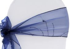 Embroidery Organza w/Sequin Chair Sash Tie - Navy Blue (Clearance)