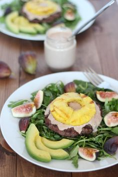 Pineapple Burger Bowl with Sweet Fig Mayonnaise   http://www.downshiftology.com