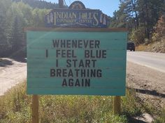 These puns are priceless!Indian Hills community of Colorado enjoys a good laugh whenever they put a 'punny sign' on the road.A man from Colorado itself, Vince R Jokes For Kids, Dad Jokes, Stupid Jokes, Funny Puns, Funny Stuff, Funny Sayings, Funny Fails, Humorous Quotes, Frases