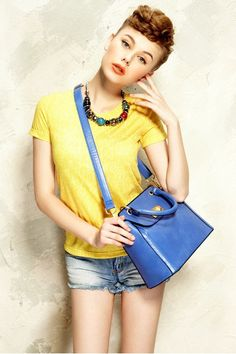 Womens Summer Fashion All-match One Colour Yellow Tshirts