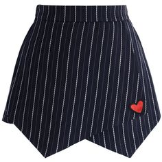 Chicwish Lovely Heart Stripe Flap Skorts in Navy ($42) ❤ liked on Polyvore featuring skirts, mini skirts, blue, skort skirt, blue skirt, blue wrap skirt, golf skirts and blue mini skirt