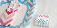 Chevron Gender Reveal Party Ideas: Tableware #Chevron #PartySupplies
