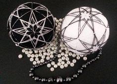 Japanese temari balls yin and yang black and by MonaSaadHandmade