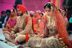 Sikh Wedding Brides - Gold Lehenga with Orange Dupatta for Anand Karaj #wedmegood #sikh #brides