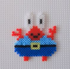Krabs SpongeBob hama beads by Eva Cuevas Perler Bead Templates, Diy Perler Beads, Pearler Beads, Melty Bead Patterns, Hama Beads Patterns, Beading Patterns, Minecraft Beads, Spongebob, Perler Bead Mario