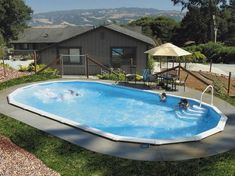 Get an inground for thousand less with a Doughboy Pool! Much less than fiberglass pool. Not sure how I feel about pool wall caps. Kids will for sure step or trip on them. Best Above Ground Pool, Above Ground Swimming Pools, In Ground Pools, Backyard Pool Landscaping, Swimming Pools Backyard, Backyard Ideas, Outdoor Ideas, Landscaping Ideas, Outdoor Decorations