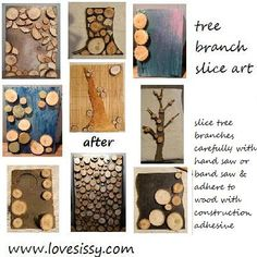Many ideas for using tree branch slices & pieces to make unique DIY art.
