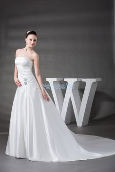 free shipping 2016 new custom size/color church dresses white and lvory small train crystal curtain decoration wedding dress