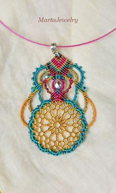 Micro-macrame necklace macrame jewelry beadwork by MartaJewelry