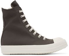 RICK OWENS DRKSHDW Grey Canvas High-Top Sneakers. #rickowensdrkshdw #shoes #sneakers