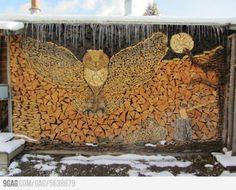 Stacking fire logs art