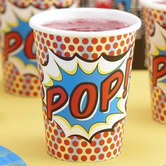 "Fun cups for a children's super hero party, or for theme parties for grown-ups, such as a Comic-Con party or a recognition reception for volunteer ""heroes."""