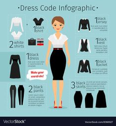 Business woman clothes infographics by ssstocker on Creative Market - Business Attire Business Outfit Frau, Business Dress Code, Business Dresses, Business Wear, Business Chic, Business Woman Successful, Business Professional Outfits, Professional Wardrobe, Professional Dress For Women