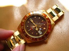 """F*#cking aswesome Rolex GMT ref 1675 in 18 k gold, """"eagle"""" dial and with NO crown guard!!"""