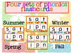 Jolly Phonics Mini flashcards Four sets of flashcards:1 set for Spring flashcards1 set for Summer flashcards1 set for Fall flashcards1 set for Winter flashcardsGroup 1-71. s a t i p n2. c k e h r m d3. g o u l f b4. ai j oa ie ee or5. z w ng v oo oo6.