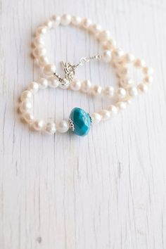 White Freshwater Pearl Necklace with Teal accent, #something blue #wedding #bridal