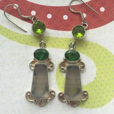 Green Agate/peridot earrings. .925 silver, agate and green Quartz earrings. NWOT. Irregularities are to be expected with natural gemstones. Jewelry Earrings