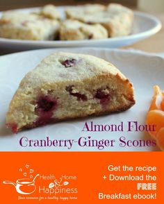 cranberry ginger scones made with almond flour