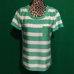 J.Crew Silky Striped Blouse Adorable Kelly Green and white striped silky blouse with pocket by J. Crew. Size tag says XS but I'm listing as a small because it will definitely fit either one. Like new condition with no flaws, this is the perfect spring blouse! J. Crew Tops Blouses