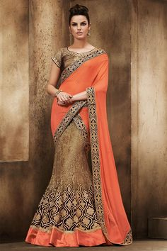 Brown and orange Chiffon and net Saree With Art silk Blouse Embellished with embroidered, zari and stone. Saree comes with sweet heart neck blouse. http://www.andaazfashion.co.uk/womens/sarees/brown-and-orange-chiffon-and-net-saree-with-art-silk-blouse-dmv8400.html