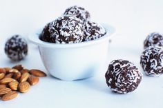 Easy to make and absolutely delicious. Gluten-free and dairy-free. These lil guys make the best dessert or after school snack! Raw Food Recipes, Snack Recipes, Dessert Recipes, Blender Recipes, Free Recipes, Healthy Recipes, Brownie Bites Recipe, Vegan Brownie, Coconut Brownies