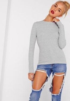Tall Grey Crew Neck Ribbed Top