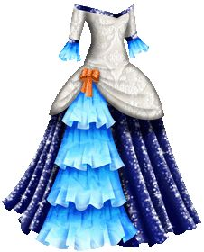 Paper Doll Dress. A masquerade gown with a bodice patterned with white lace. The neckline is off the shoulders and slightly V-shaped, and is trimmed with a li...