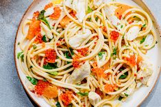 This cold crab spaghetti recipe gets its flavor from basil, mint, and tangerine. Crab Spaghetti, Crab Pasta, Spaghetti Recipes, Wine Recipes, Seafood Recipes, Pasta Recipes, Pasta Sauces, Salad Recipes, Cooking Recipes