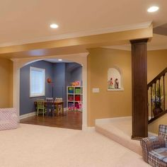 perfect finished basement with separate playroom! I love this idea but I am not sure what I would do with the space once my kids outgrew a playroom