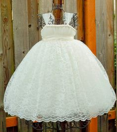 Ivory Flower Girl Tutu Dress with Ivory Lace Overlay - Austen