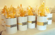 I made these crafty containers out of empty Reliv cans for a bridal shower. Inside was a place setting and party favor (candy sachet) for each guest. Adorable! ~Annie #reuse #recycle #Reliv