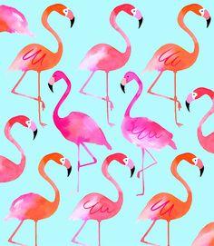Margaret Berg Art: Flamingos: Blue