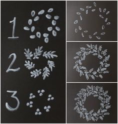 einen Kranz zeichnen Kreide Its christmas time draw a wreath of chalk Its christmas time Chalkboard Lettering, Chalkboard Designs, Hand Lettering, Chalkboard Ideas, Chalkboard Numbers, Chalkboard Stencils, Chalkboard Frames, Chalkboard Fabric, Chalkboard Drawings