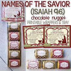 NEW ISAIAH Names of the Savior, NATIVITY Chocolate Nugget Wrappers, Isaiah 9:6, Christmas - Printable Instant Download